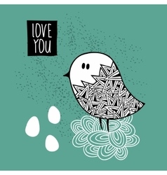 Creative print with hand drawn bird vector image