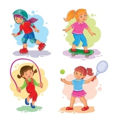 Set icons of girls playing tennis jumping rope vector image