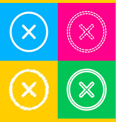 Cross sign  four styles of icon on vector