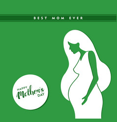 Happy mothers day pregnant woman vector