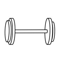 dumbbell weight gym equipment image line vector image