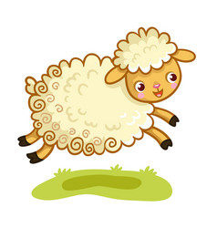 Lamb plays in the meadow vector