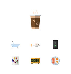 Flat icon oneday set of cappuccino fried egg vector