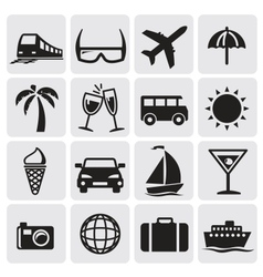 Tourism set icons vector