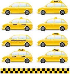 Set of isolated taxi car vector