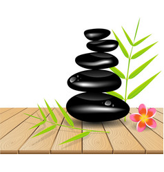 Hot stone massage on wooden table vector