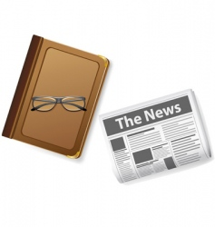 glasses and newspaper vector image