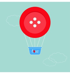 Big red button hot air balloon Dash line clouds Fl vector image