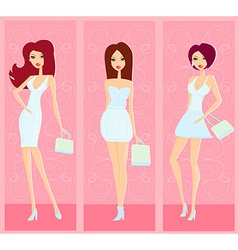 Fashion shopping girls set vector