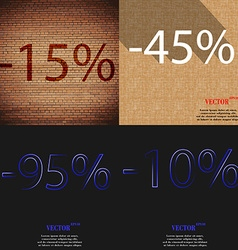 45 95 10 icon set of percent discount on abstract vector