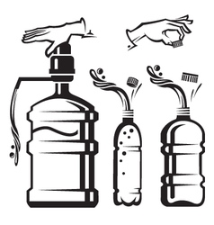 Bottles with water vector