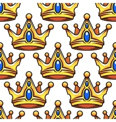 Cartoon golden crowns seamless pattern vector