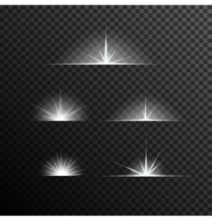 Set of glowing light bursts on black vector