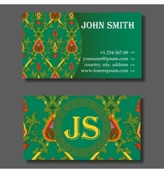 Business card template green and orange vintage vector image