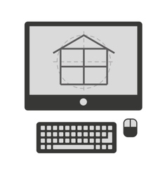 Plane house in computer isolated icon design vector