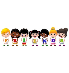 Children holding paper with letters friends vector
