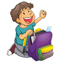 a boy with school bag vector image