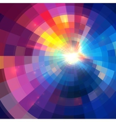 Abstract colorful shining circle tunnel background vector image