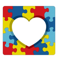 Autism awareness heart puzzle vector