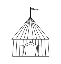 Circus tent tops outline stripes flag on top vector