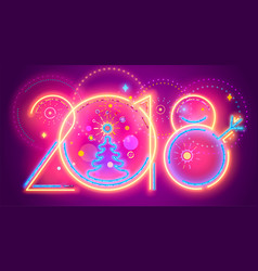 colorful new year line numera colorful neon 2018 vector image