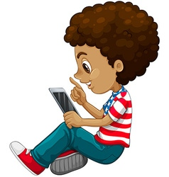 Curly hair boy using tablet computer vector image