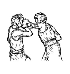 fighting boxers with boxing head guard vector image