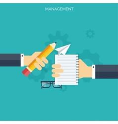 Flat management concept background teamwork vector
