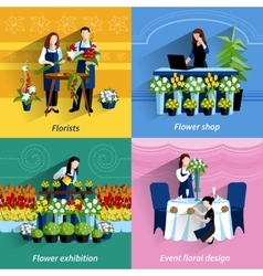 Florist 4 flat icons square composition vector