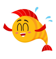 Funny happy golden yellow fish character with vector