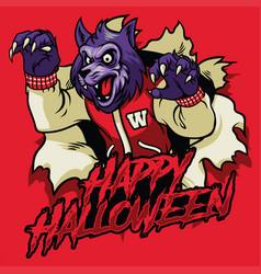 halloween design of werewolf vector image