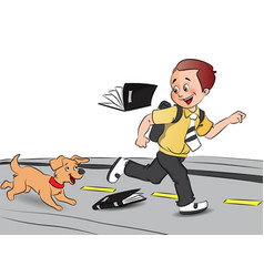 happy schoolboy running with pet dog books falling vector image vector image