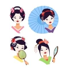 japanese geisha girl vector image vector image