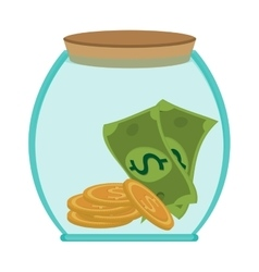 jar money bill coin business save vector image