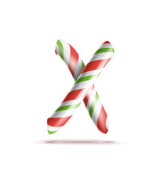letter x 3d realistic candy cane alphabet vector image vector image