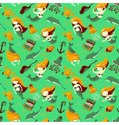 marine seamless pattern with mermaid vector image