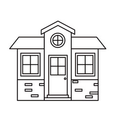 Monochrome silhouette of small house facade vector