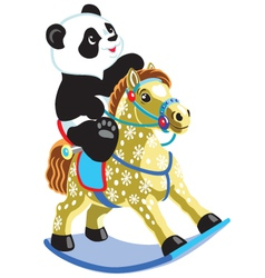 Panda riding a rocking horse vector