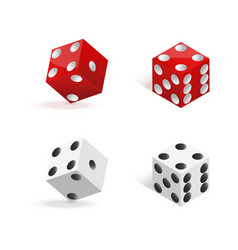 red and white dices isolated on white background vector image vector image