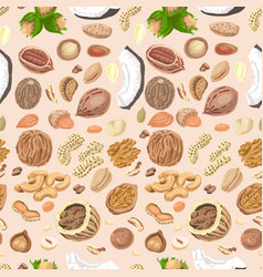 seamless pattern with colored nuts and seeds vector image vector image
