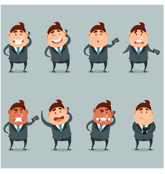 Set of flat businessmen with phone vector