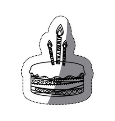 Sticker silhouette picture birthday cake with vector