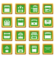 Street food truck icons set green vector