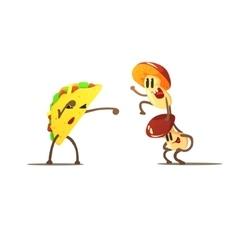 Taco against mushrooms cartoon fight vector