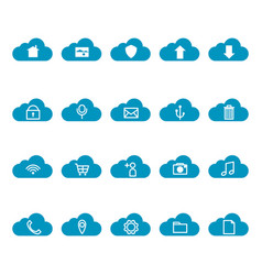 Thin line cloud computing icon set vector