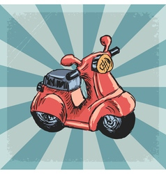 vintage grunge background with scooter vector image