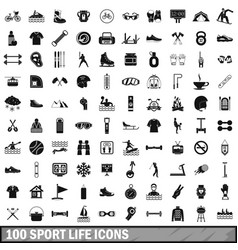 100 sport life icons set simple style vector