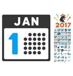 January first icon with 2017 year bonus symbols vector