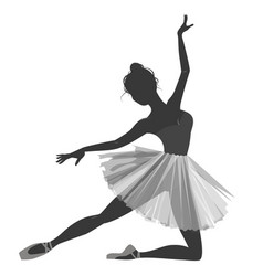 Ballerina girl silhouette isolated on white vector