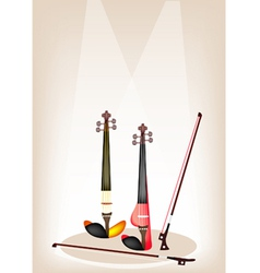 Two beautiful modern violins on stage vector